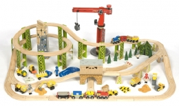 Bigjigs Wooden Railway - Construction Train Set