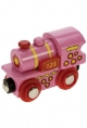 Bigjigs Wooden Railway - Pink 123 Engine